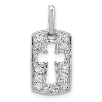 Sterling Silver Rhodiulm Plated Faith CZ Open Cross Charm