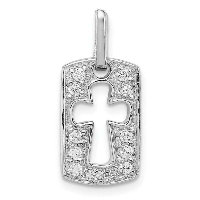 Quality Gold Sterling Silver Rhodiulm Plated Faith CZ Open Cross Charm