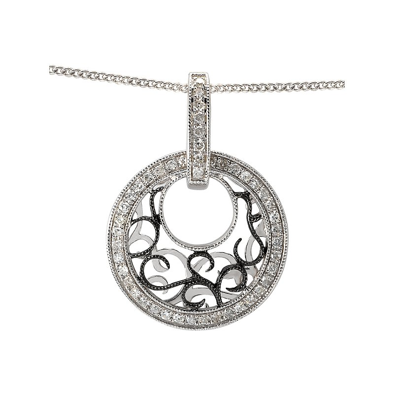 Tesoro 14kt Diamond and Rhodium Circle Pendant