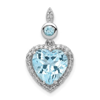 Sterling Silver Rhodium-plated Diamond & Light Swiss Blue Topaz Pendant