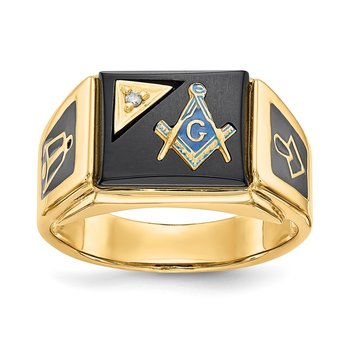 14k AA Diamond Men's Masonic Ring