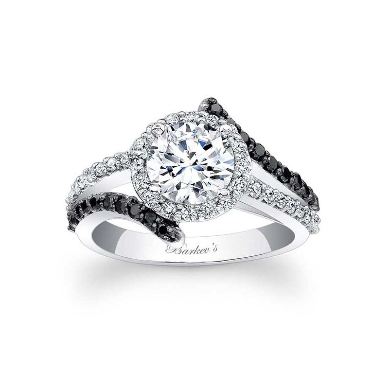 Barkev's Black Diamond Halo Engagement Ring