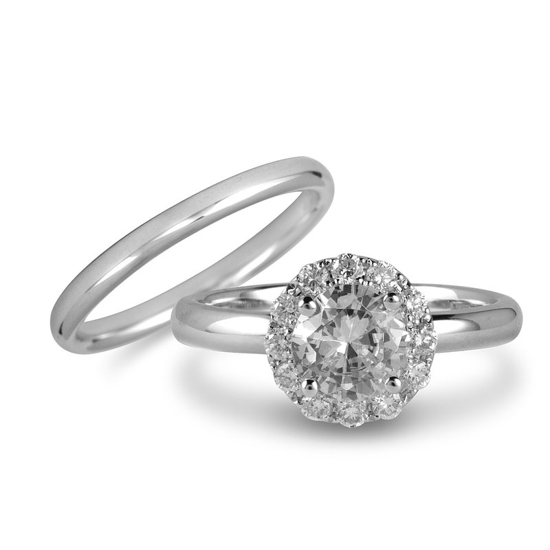 BB Impex 14K WG Engagement Ring (Centre CZ) And Wedding Band