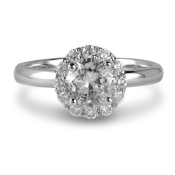 14K WG Engagement Ring (Centre CZ) And Wedding Band