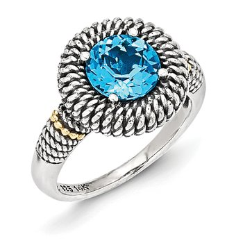 Sterling Silver w/14k Antiqued Light Swiss Blue Topaz Ring