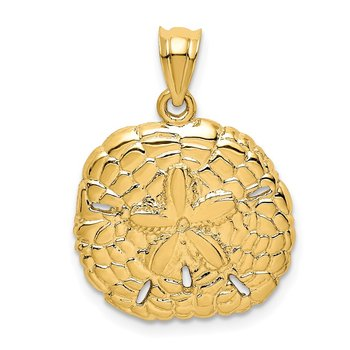 14K Polished Sand Dollar Pendant