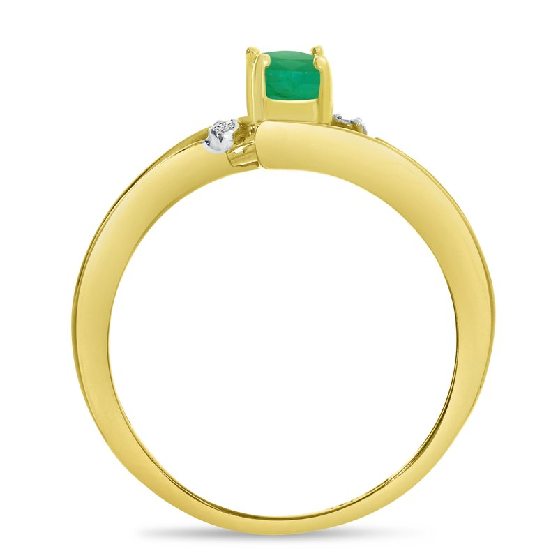 Color Merchants 10k Yellow Gold Oval Emerald And Diamond Wave Ring