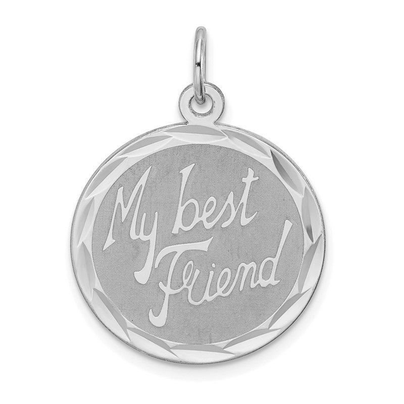 Quality Gold Sterling Silver Rhodium-plated My Best Friend Disc Charm