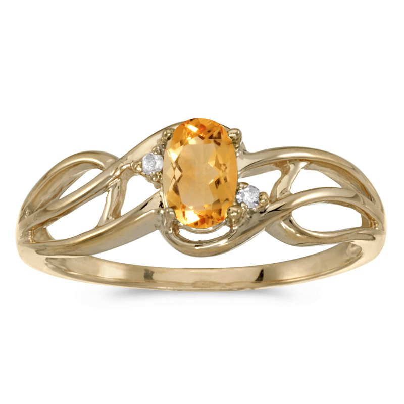 Color Merchants 14k Yellow Gold Oval Citrine And Diamond Curve Ring