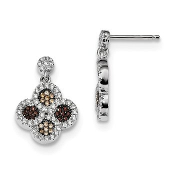 Sterling Silver Brilliant Embers Rhodium-pl CZ Flower Dangle Post Earrings
