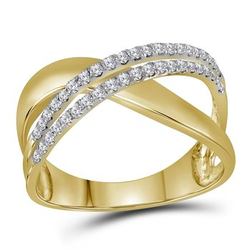 10kt Yellow Gold Womens Round Diamond Crossover Band Ring 3/8 Cttw