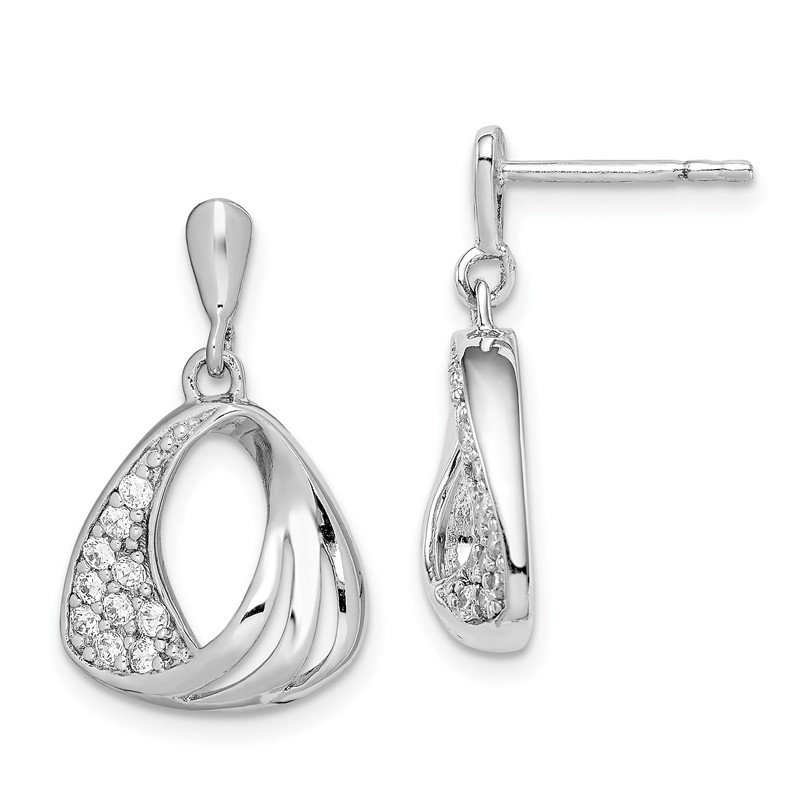 Quality Gold Sterling Silver Rhodium Plated CZ Fancy Post Earrings