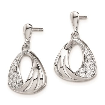 Sterling Silver Rhodium Plated CZ Fancy Post Earrings