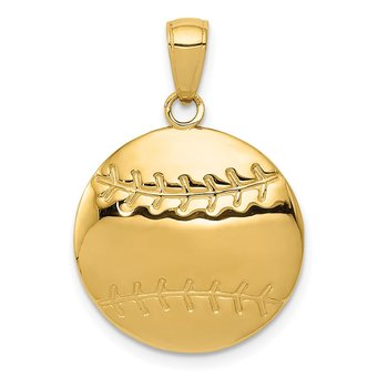 14k Polished Baseball Charm