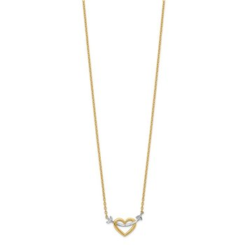 14k w/Rhodium Diamond-cut Heart & Arrow Necklace