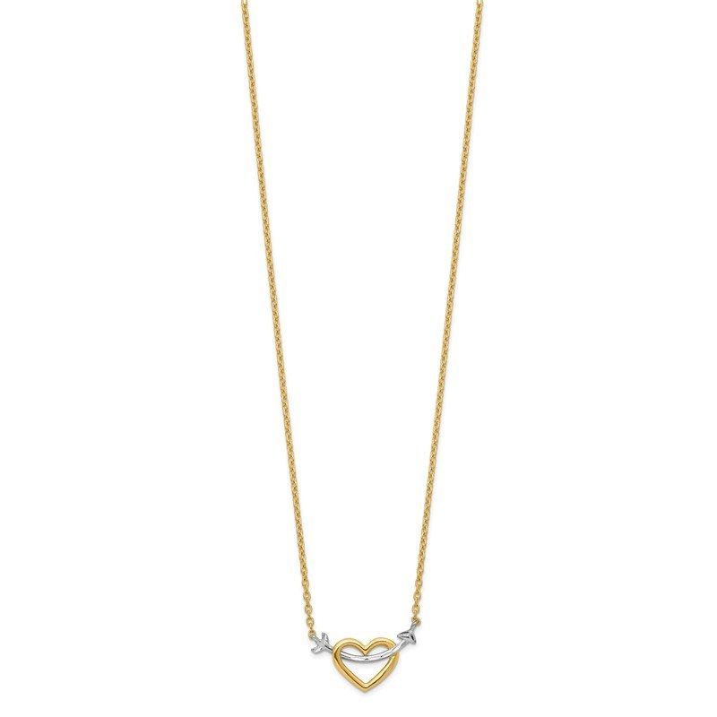 Quality Gold 14k w/Rhodium Diamond-cut Heart & Arrow Necklace