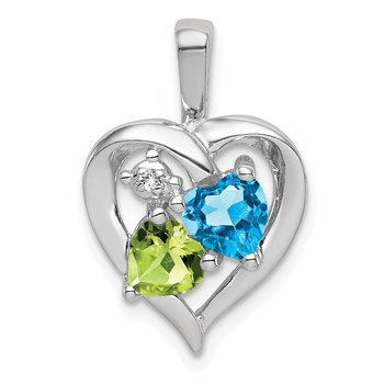 Sterling Silver Rhodium-plated Blue Topaz Peridot Diamond Pendant