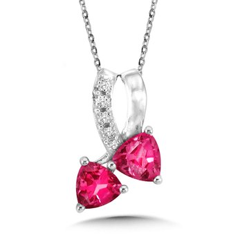 Trillion-Cut Created Pink Sapphire and Diamond Pendant