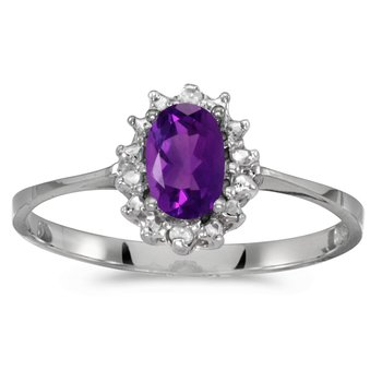 14k White Gold Oval Amethyst And Diamond Ring