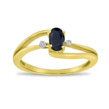 14k Yellow Gold Oval Sapphire And Diamond Wave Ring
