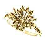 Stuller 18K Yellow 7 mm Round French-Set Halo-Style Engagement Ring Mounting