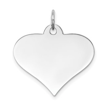 14k White Gold Plain .035 Gauge Engraveable Heart Disc Charm