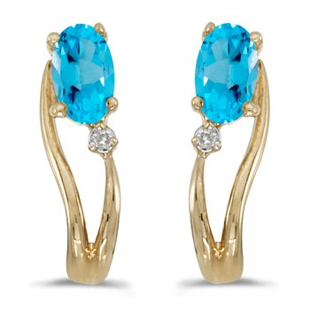14k Yellow Gold Oval Blue Topaz And Diamond Wave Earrings