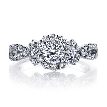Diamond Engagement Ring 0.58 ct rd 0.12 ct pr