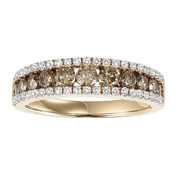 14K Browm & White Diamond Band 1 1/5 ctw