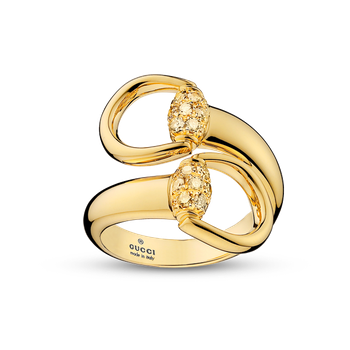 Gucci 18kt Horsebit ring 2 HBT with 0.44ct brown diamonds. Available at our Halifax store.