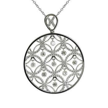 14K White Gold Dashing Diamonds Pendant