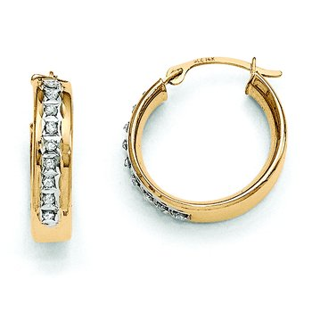 14k Diamond Fascination Round Hinged Post Hoop Earrings