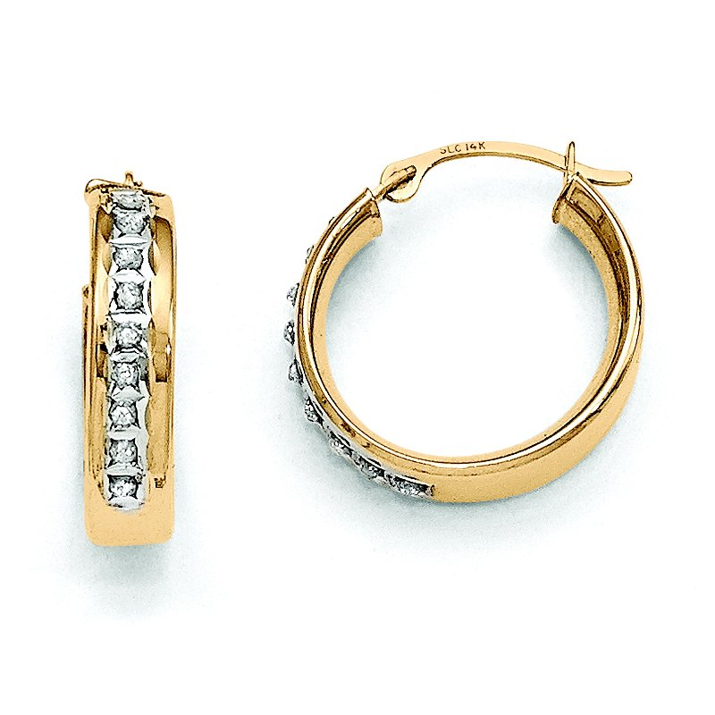 Quality Gold 14k Diamond Fascination Round Hinged Post Hoop Earrings