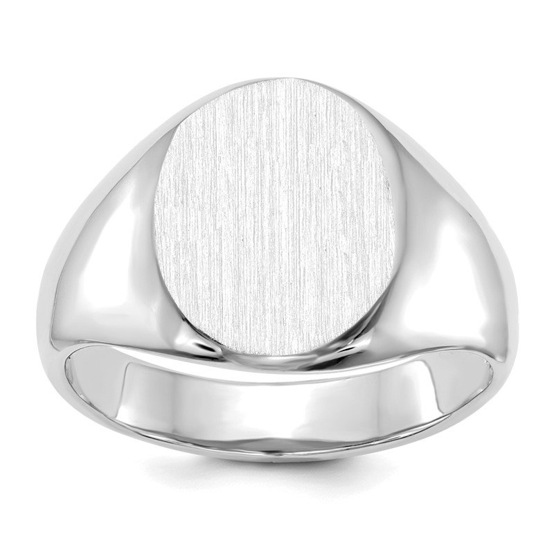 Quality Gold 14k White Gold 13.0x11.0mm Open Back Signet Ring