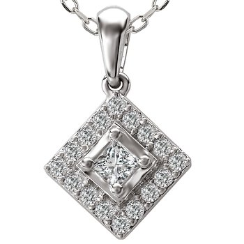 14kt Diamond Halo Pendant