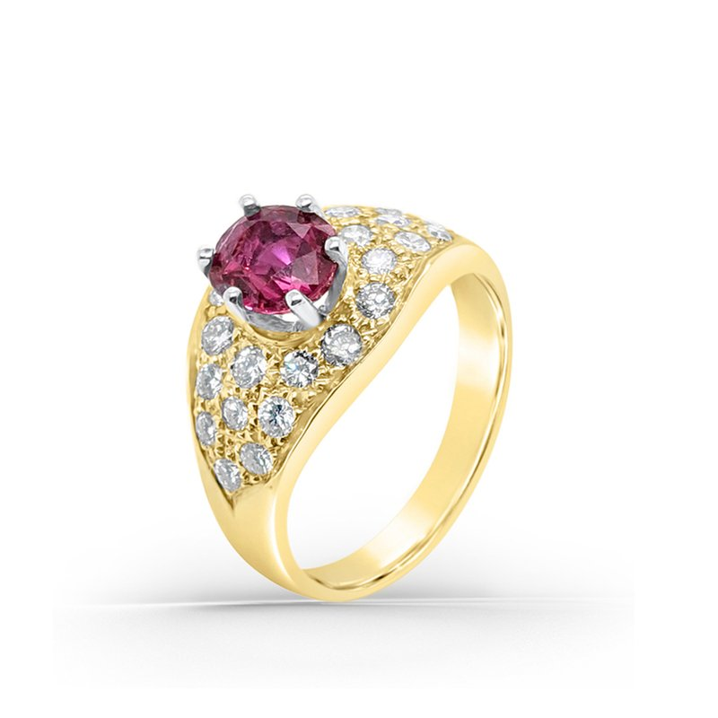 14K Yellow Gold Diamond Retro Natural Ruby Cocktail Ring