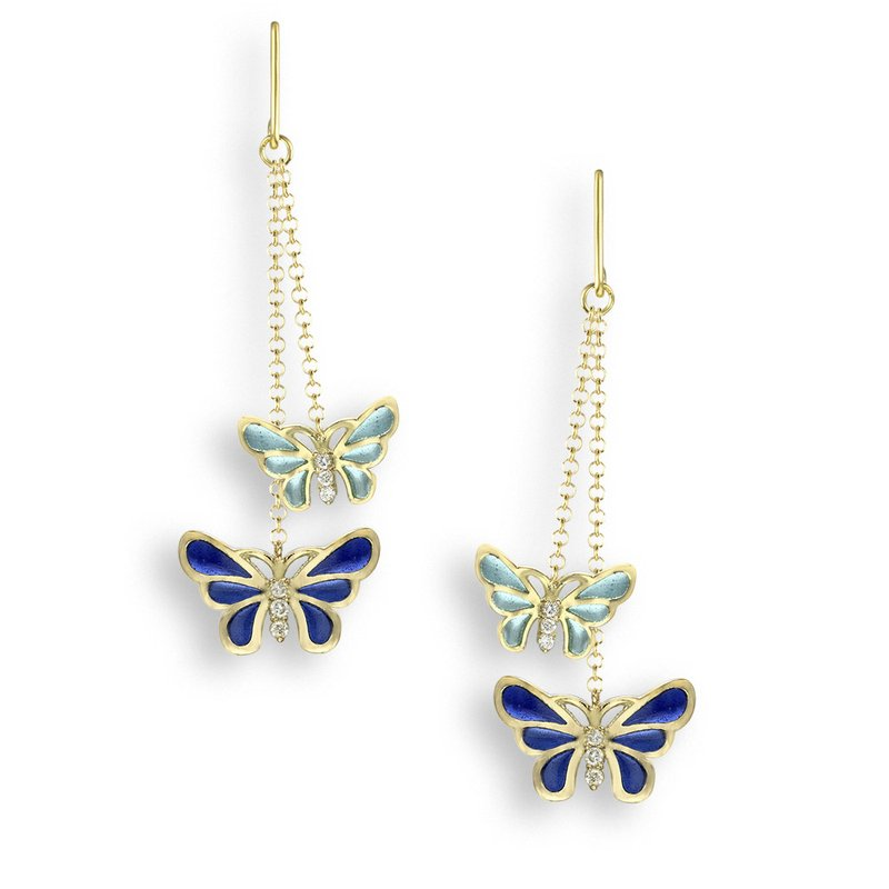 Nicole Barr Designs Blue Butterfly Wire Earrings.18K -Diamonds