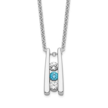 Sterling Silver Survivor Clear & Blue Swarovski Topaz Grateful Necklace