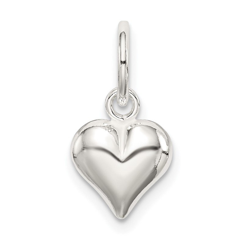 Quality Gold Sterling Silver Puff Heart Charm