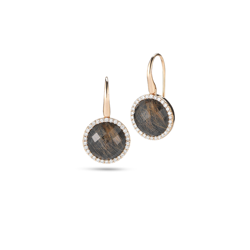 Roberto Coin Earrings With Diamonds, Onyx, And Quartz