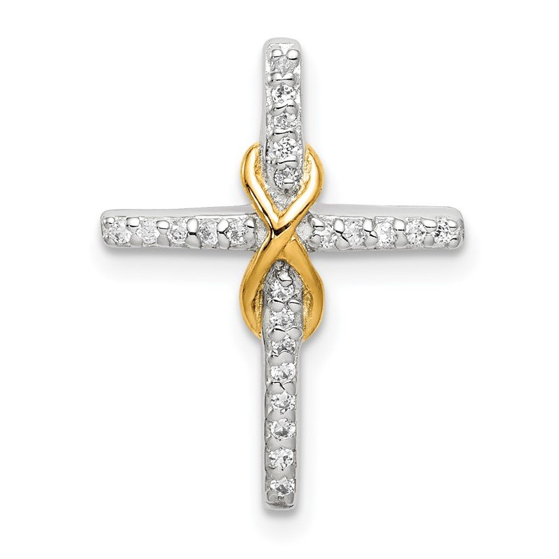 Quality Gold Sterling Silver & Gold Tone CZ Cross Chain Slide