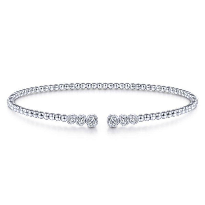 Gabriel Fashion 14K White Gold Bujukan Bead Split Cuff Bracelet with Bezel Set Diamonds