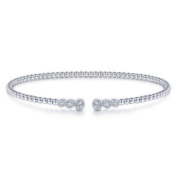 14K White Gold Bujukan Bead Split Cuff Bracelet with Bezel Set Diamonds