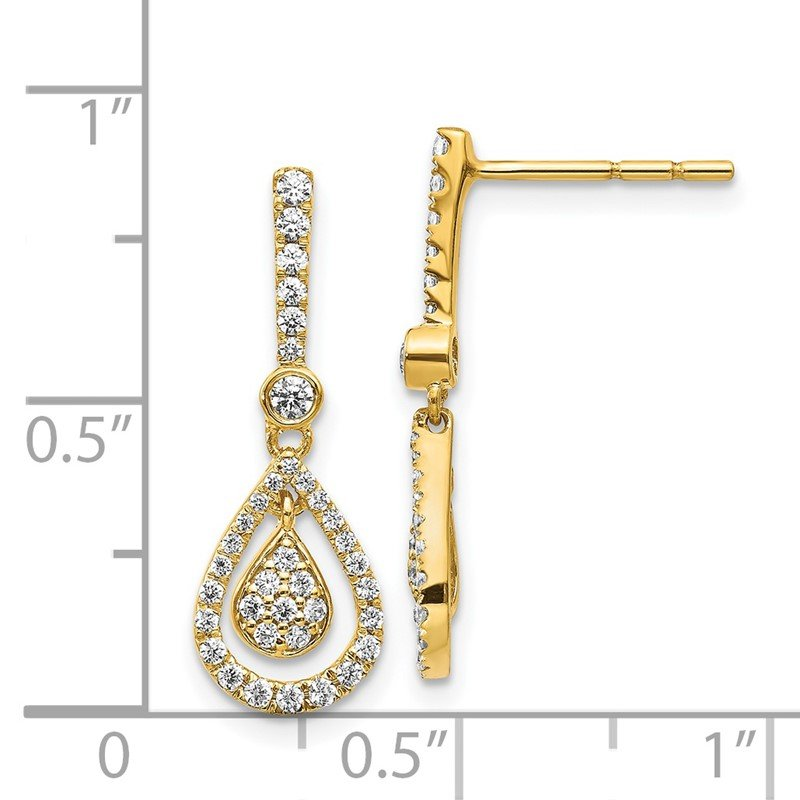 Quality Gold 14k White Gold Diamond Fancy Teardrop Dangle Post Earrings