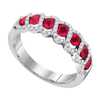14kt White Gold Womens Round Ruby Diamond Striped Band Ring 1.00 Cttw