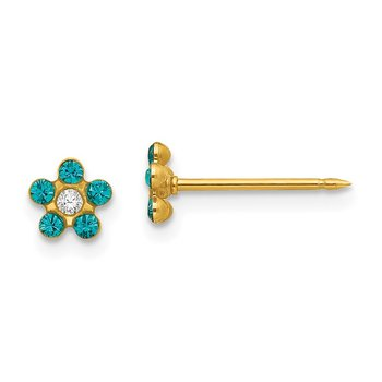 Inverness 14k December Blue Crystal Birthstone Flower Earrings
