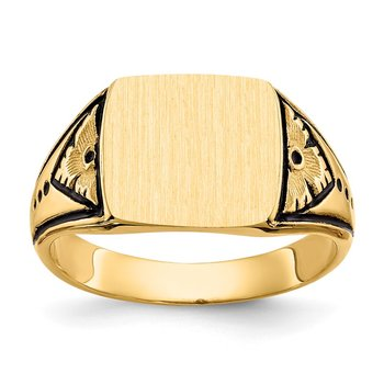 14k 11.0x11.5mm Closed Back Antiqued Signet Ring