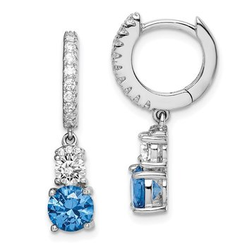 Sterling Silver Rhodium-plated Blue CZ Hinged Hoop Earrings