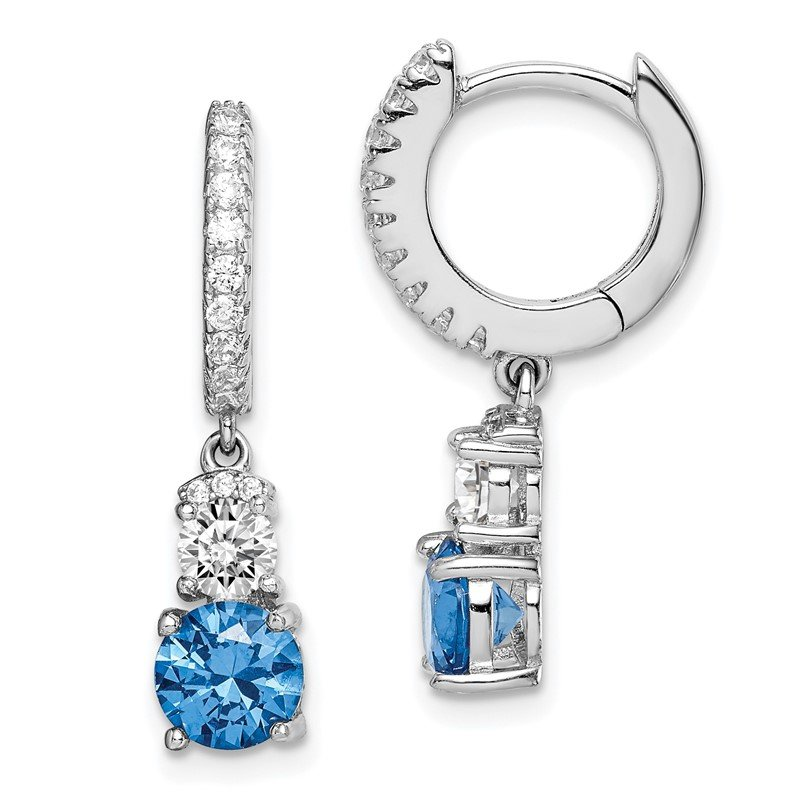 JC Sipe Essentials Sterling Silver Rhodium-plated Blue CZ Hinged Hoop Earrings