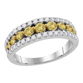 14kt White Gold Womens Round Yellow Color Enhanced Diamond Parallel Stripe Band Ring 1/2 Cttw